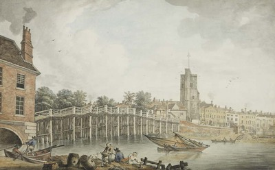 watercolour - View of Fulham Bridge and Putney Church