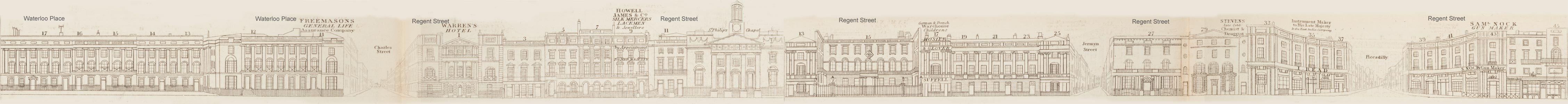 map - Tallis's London street views : No. 17. Regent Street, division 4 (west)
