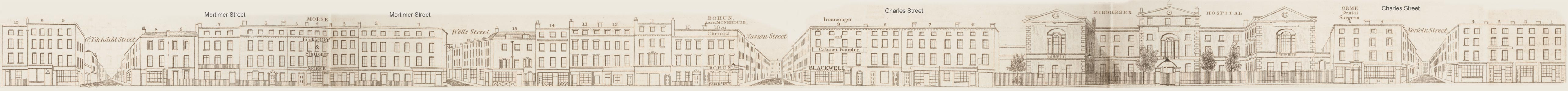 map - Tallis's London street views : No. 65. Charles Street and Mortimer Street (north)