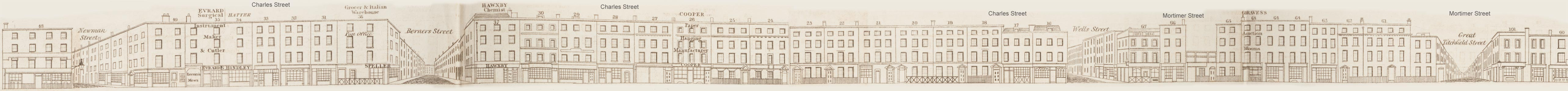 map - Tallis's London street views : No. 65. Charles Street and Mortimer Street (south)