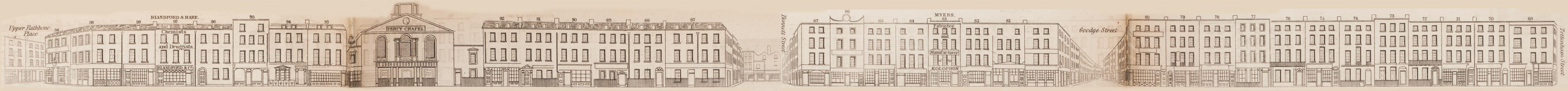 map - Tallis's London street views : No. 82. Charlotte Street, Fitzroy Square (west)