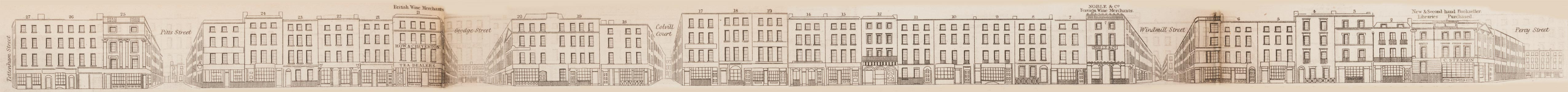 map - Tallis's London street views : No. 82. Charlotte Street, Fitzroy Square (east)