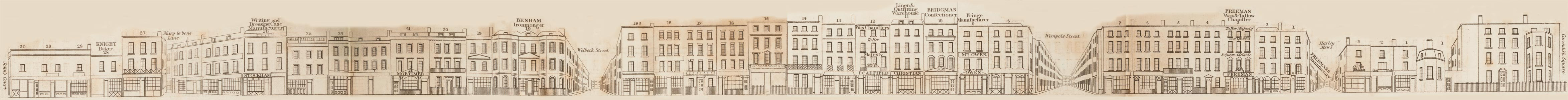 map - Tallis's London street views : No. 50. Wigmore Street, Cavendish Square (north)