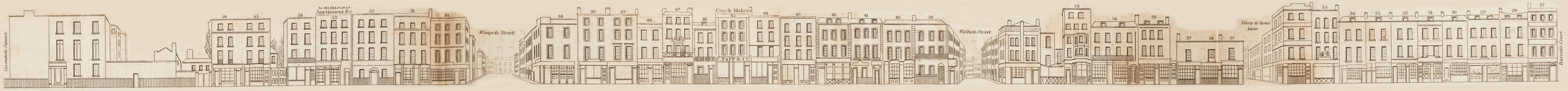 map - Tallis's London street views : No. 50. Wigmore Street, Cavendish Square (south)