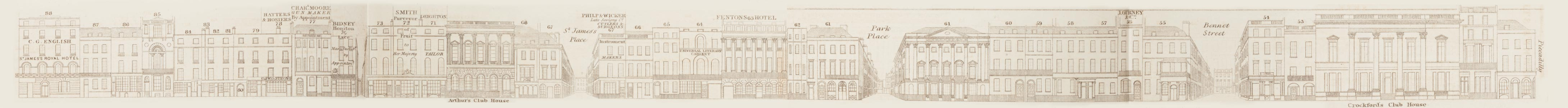 map - Tallis's London street views : No. 14. St. James's Street (west)
