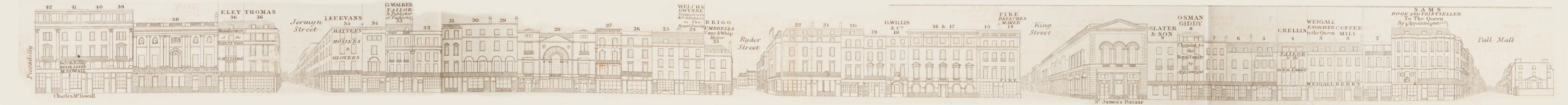 map - Tallis's London street views : No. 14. St. James's Street (east)