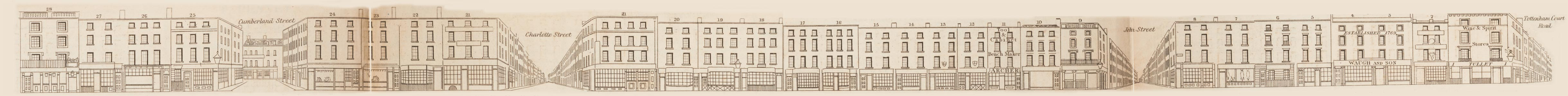 map - Tallis's London street views : No. 54. Goodge Street, Tottenham Court Road (north)