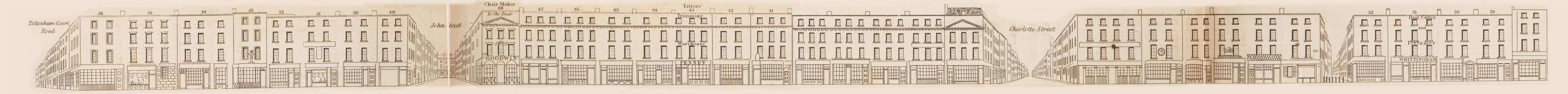 map - Tallis's London street views : No. 54. Goodge Street, Tottenham Court Road (south)