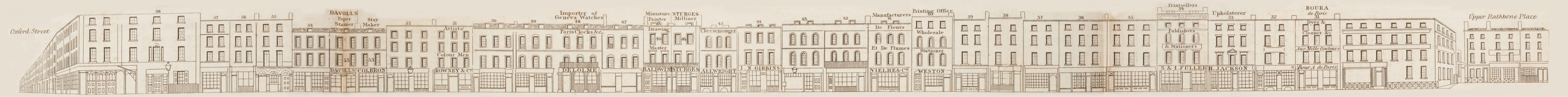 map - Tallis's London street views : No. 64. Rathbone Place (west)