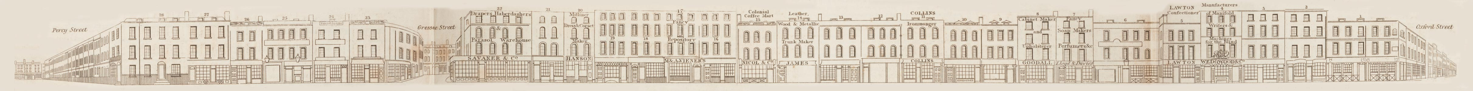 map - Tallis's London street views : No. 64. Rathbone Place (east)