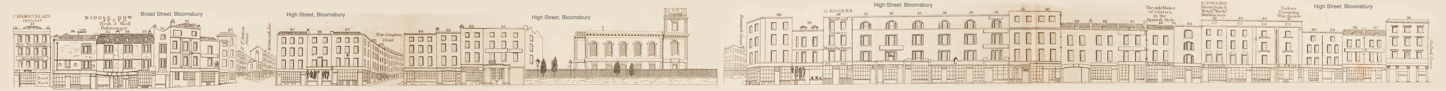 map - Tallis's London street views : No. 27. Broad Street, Bloomsbury (south)