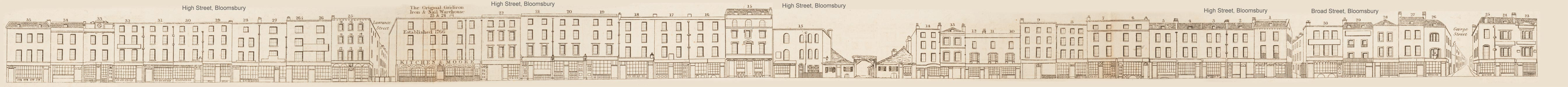 map - Tallis's London street views : No. 27. Broad Street, Bloomsbury (north)
