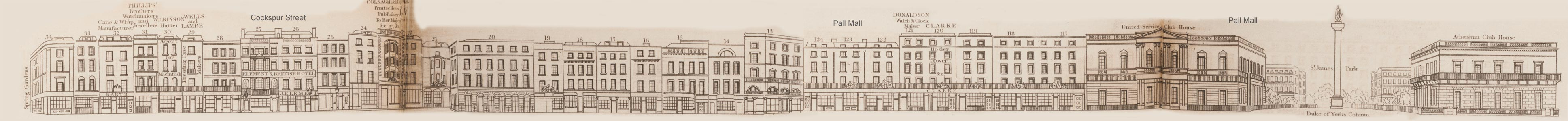 map - Tallis's London street views : No. 77. Cockspur Street and Pall Mall (south)