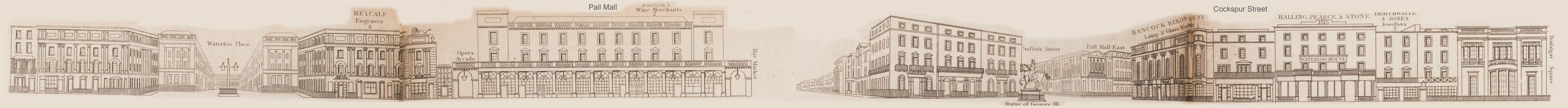 map - Tallis's London street views : No. 77. Cockspur Street and Pall Mall (north)