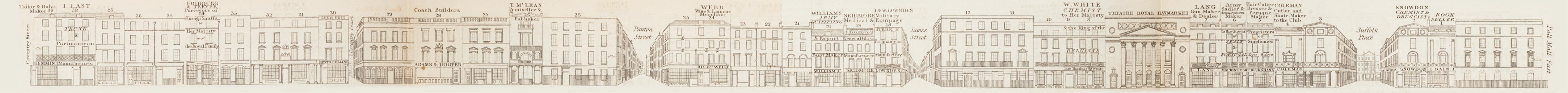 map - Tallis's London street views : No. 22. Haymarket (east)