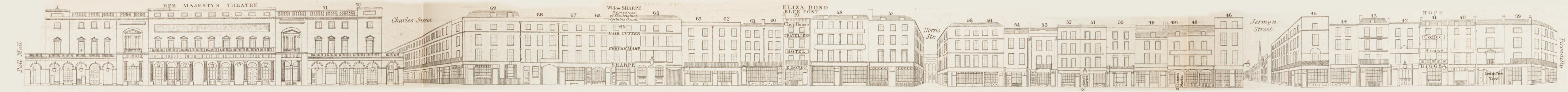 map - Tallis's London street views : No. 22. Haymarket (west)