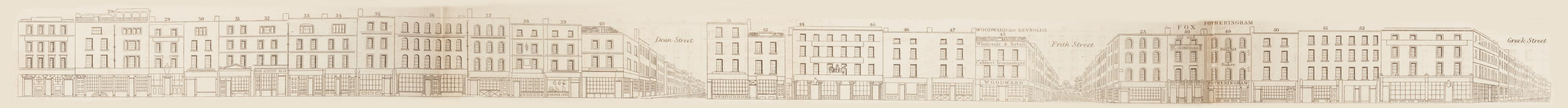 map - Tallis's London street views : No. 70. Old Compton Street (north)