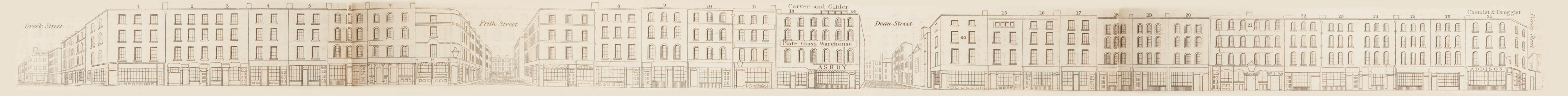 map - Tallis's London street views : No. 70. Old Compton Street (south)