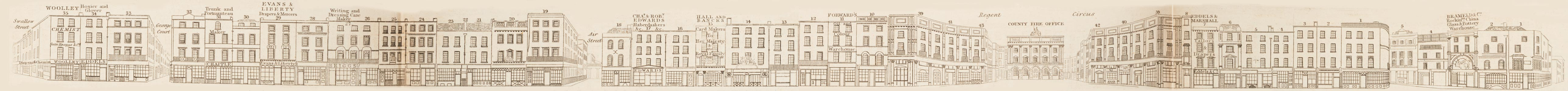 map - Tallis's London street views : No. 25. Piccadilly, division 1 (north)