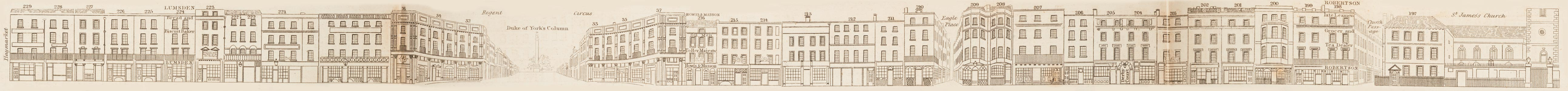 map - Tallis's London street views : No. 25. Piccadilly, division 1 (south)