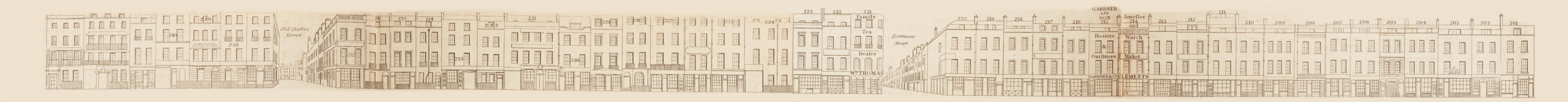 map - Tallis's London street views : No. 72. Oxford Street, division 6 (north)