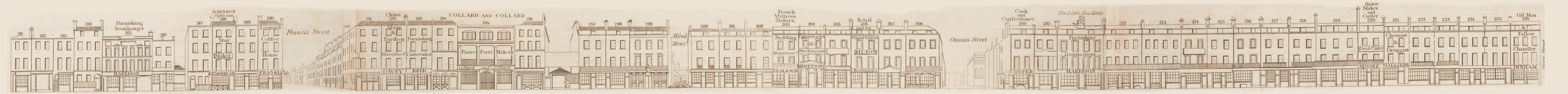 map - Tallis's London street views : No. 52. Tottenham Court Road, division 2 (east)