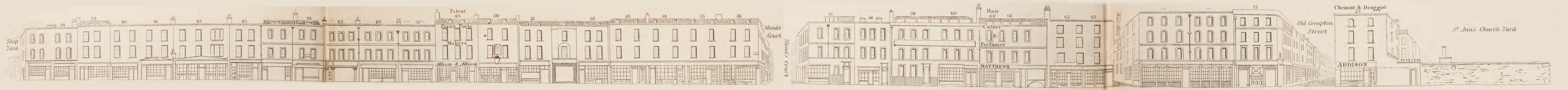 map - Tallis's London street views : No. 63. Wardour Street, division 2 (east)