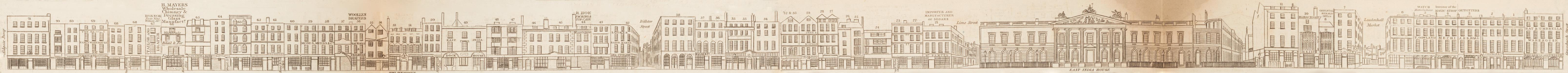 map - Tallis's London street views : No. 2. Leadenhall Street (south)
