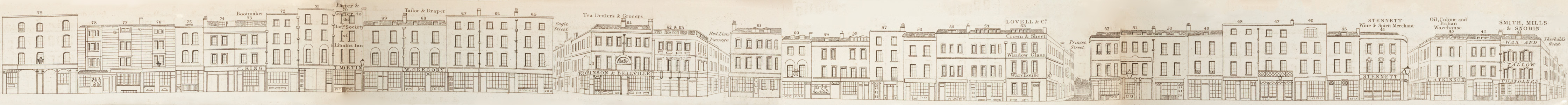 map - Tallis's London street views : No. 29. Red Lion Street, High Holborn (west)