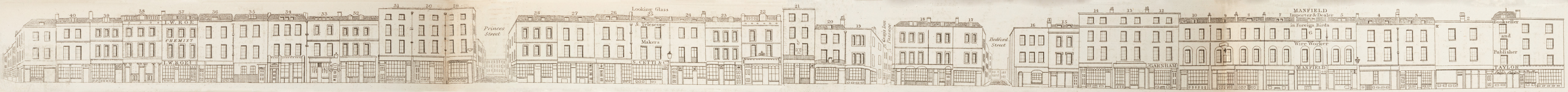 map - Tallis's London street views : No. 29. Red Lion Street, High Holborn (east)