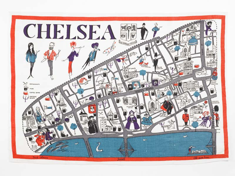 Tea towel displaying map of Chelsea and its famous residents
