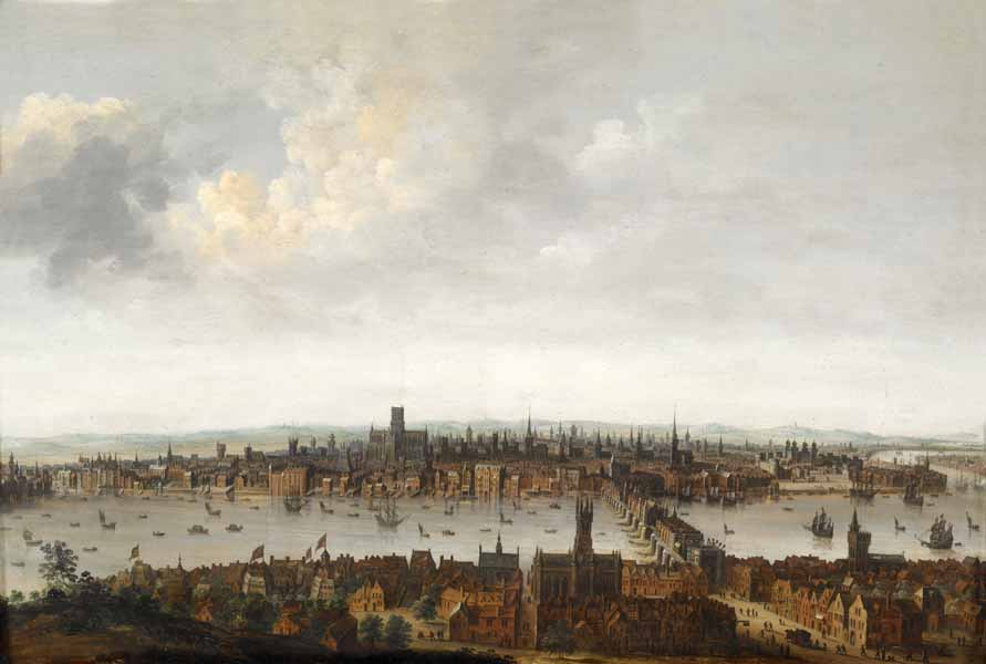 Photograph: painting of London before the fire, as seen from the south bank of the Thames. The City has many church spires. In the foreground is Southwark and London Bridge.